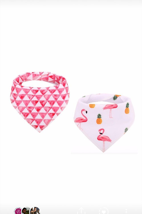 BANDANA FLAMINGO TRIANGULOS ROSA SET 2