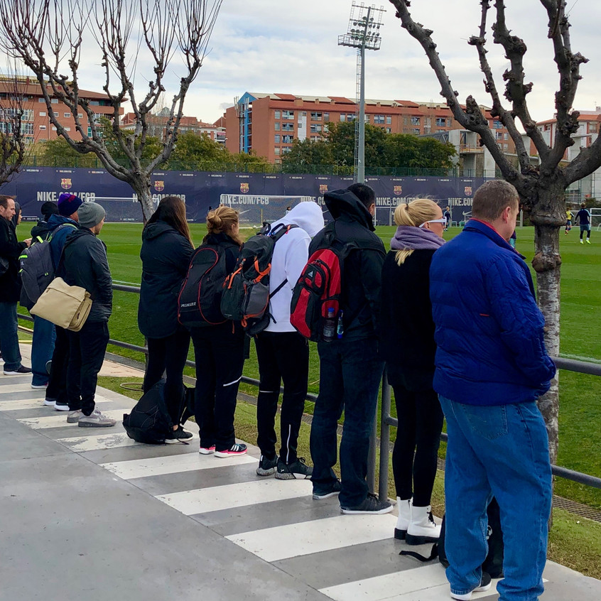 Group watching FCB Women train
