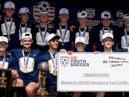Premier International Tours awards $10,000 travel certificate to US Youth Soccer National Champions