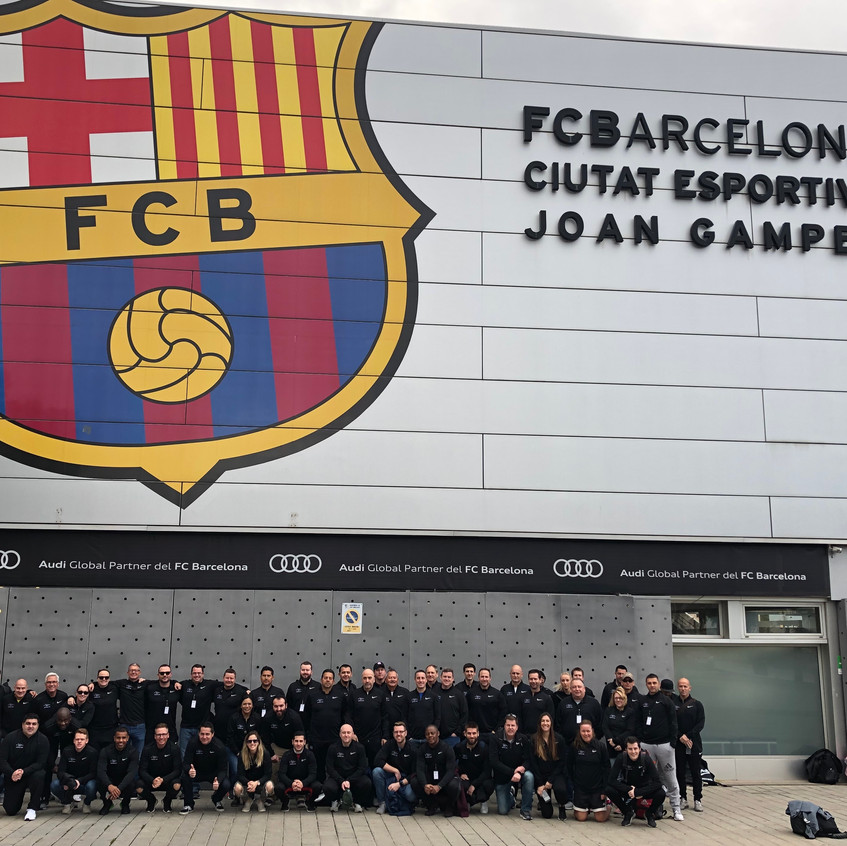Group in front of FCB training facilitie