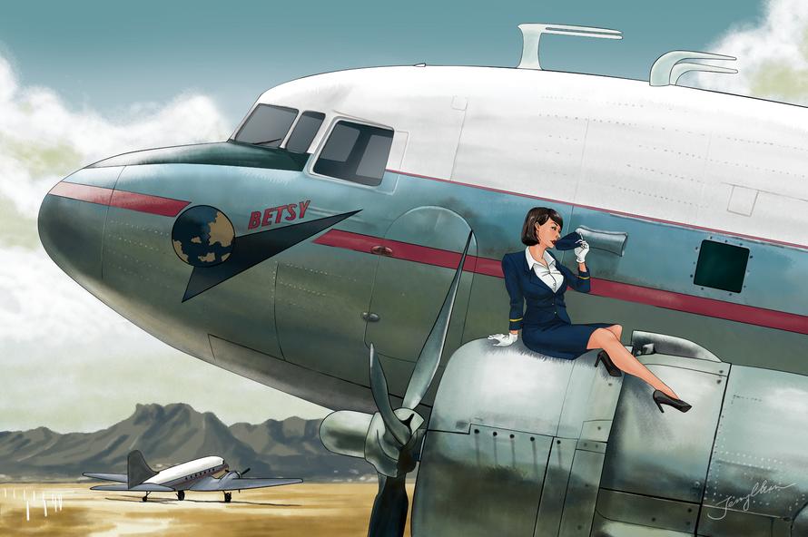 Hong Kong Aviation pinup girl postcard