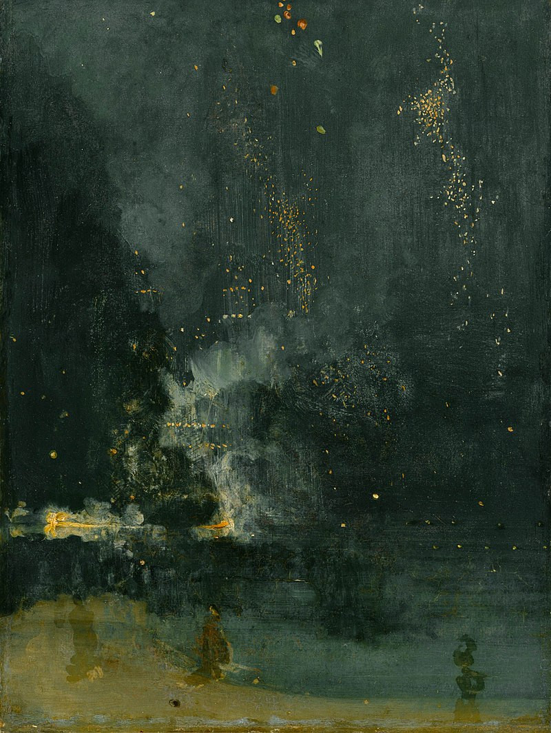 Nocturne en noir et or : la fusée qui retombe, James Abbott Mac Neill Whistler (1834-1903), 1875, huile sur toile, 60 x 46 cm, The Detroit Institute of Arts, Detroit