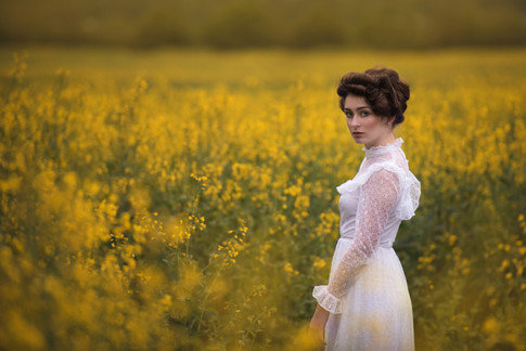 pretty woman yellow flowers