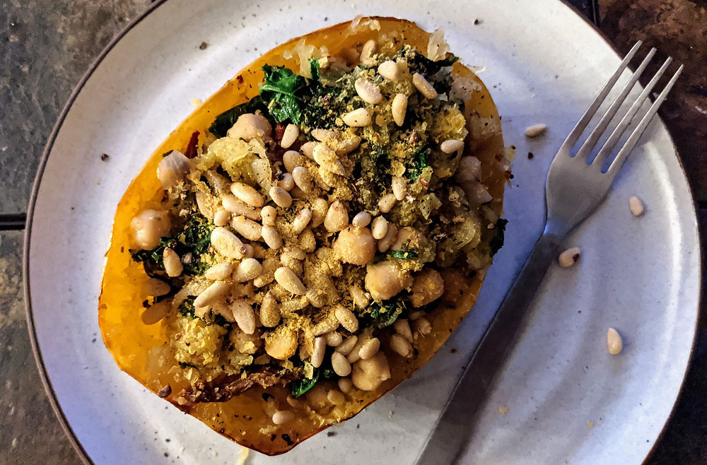 Spaghetti Squash with Chickpeas & Kale