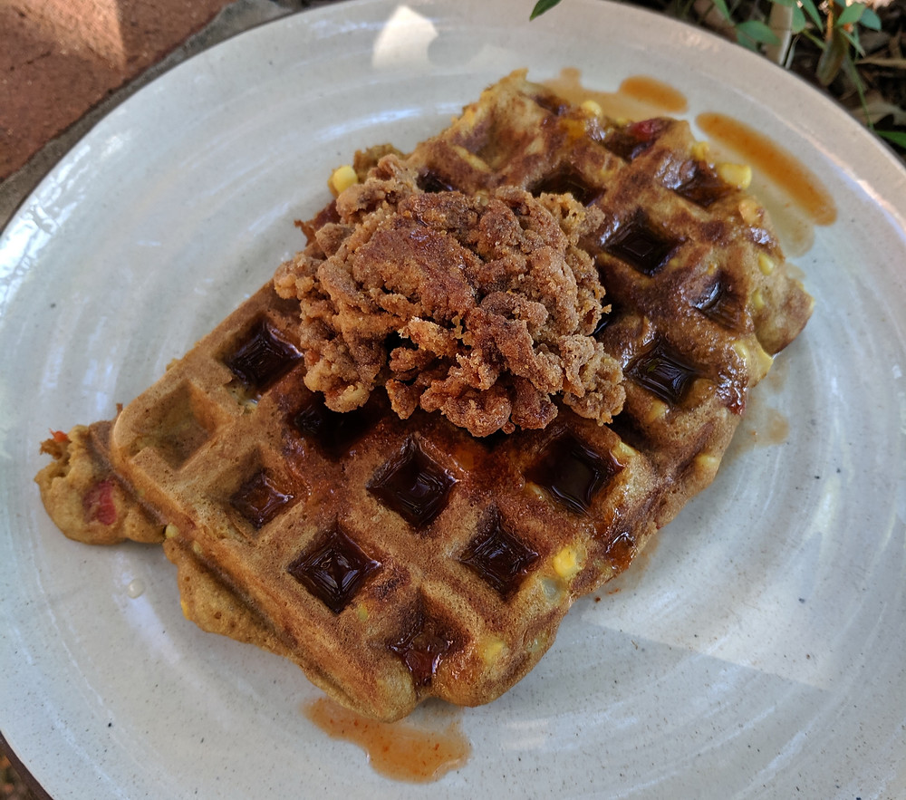 Fried Un-Chicken and Waffles with Sriracha Syrup and Veggies in the Batter