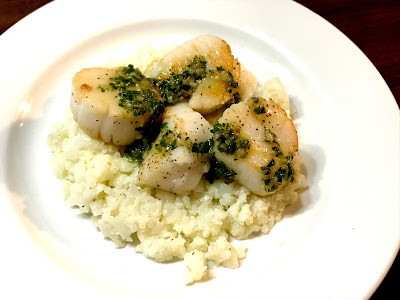 Lemony Salsa Verde Scallops with Mashed Cauliflower
