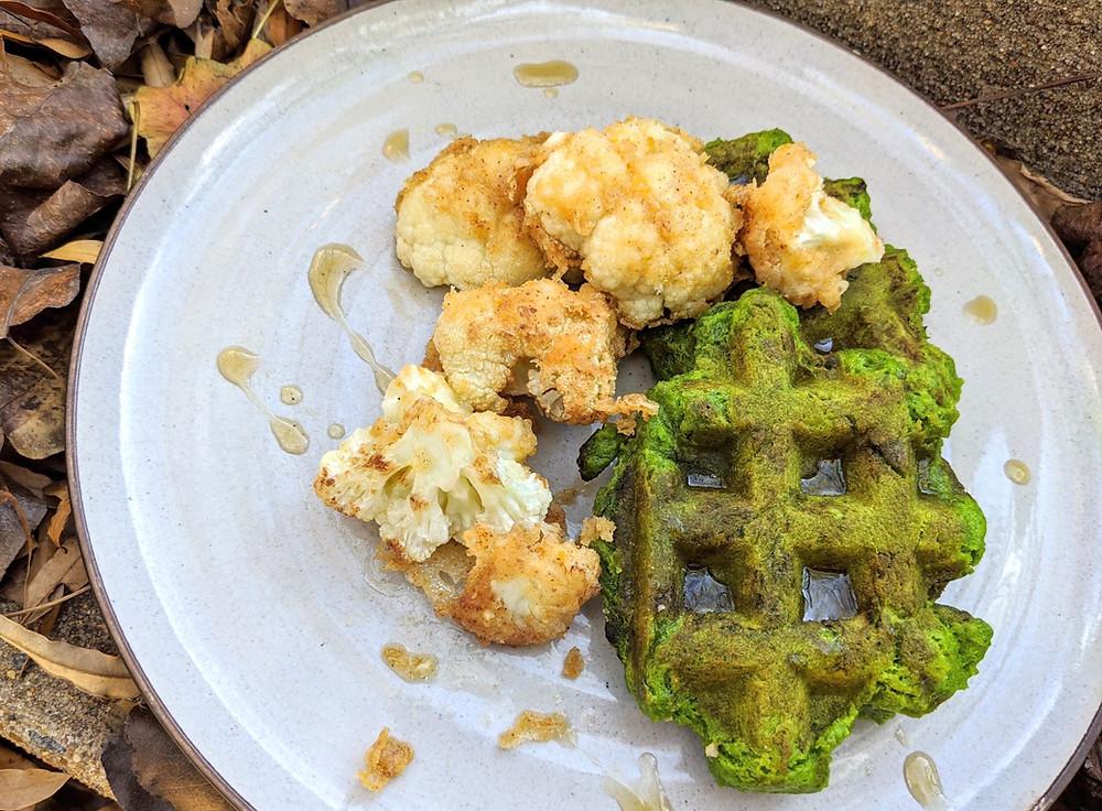 Fried Cauliflower & Spinach Waffles