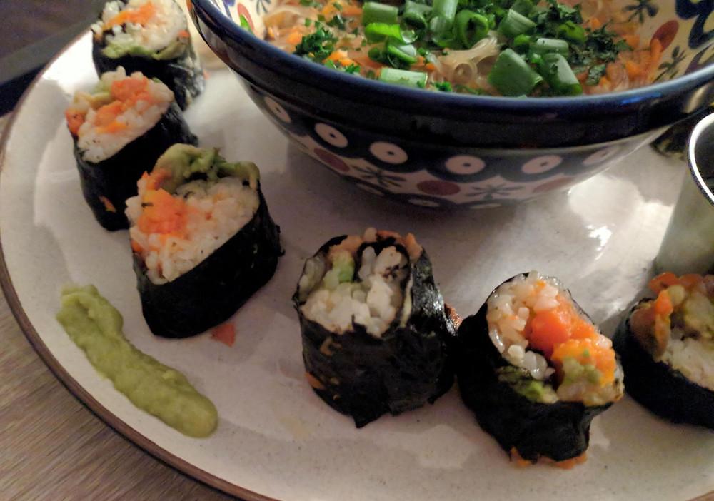 carrot lox sushi green tea soup