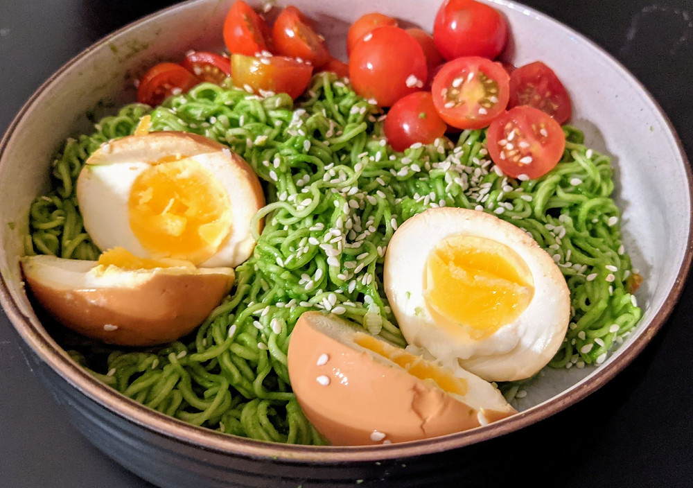 Green Ramen with Instant Pot Ramen Eggs