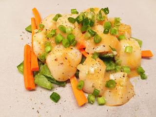 Scallop & Snow Pea Purses with Orange Miso Sauce