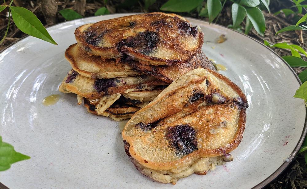 Lemon Blueberry Hummus Pancakes
