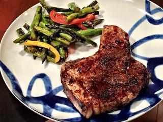 Smoky Pork Chop with Grilled Asparagus Salad