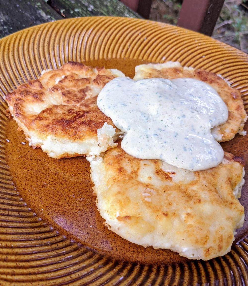 Leftovers Idea: Cheesy Mashed Potato Pancakes with Tahini Sauce