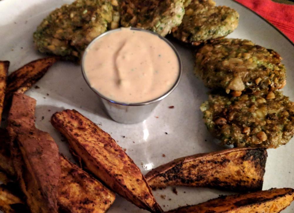 falafel and potato wedges