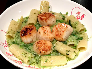 Seared Scallops with Pesto Zoodles & Noodles