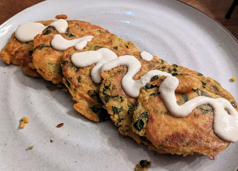 Lentil Spinach Pancakes with Cashew Sour Cream