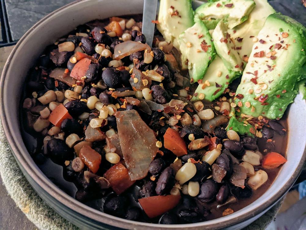 Cocoa Black Bean Chili for Dinner or Breakfast