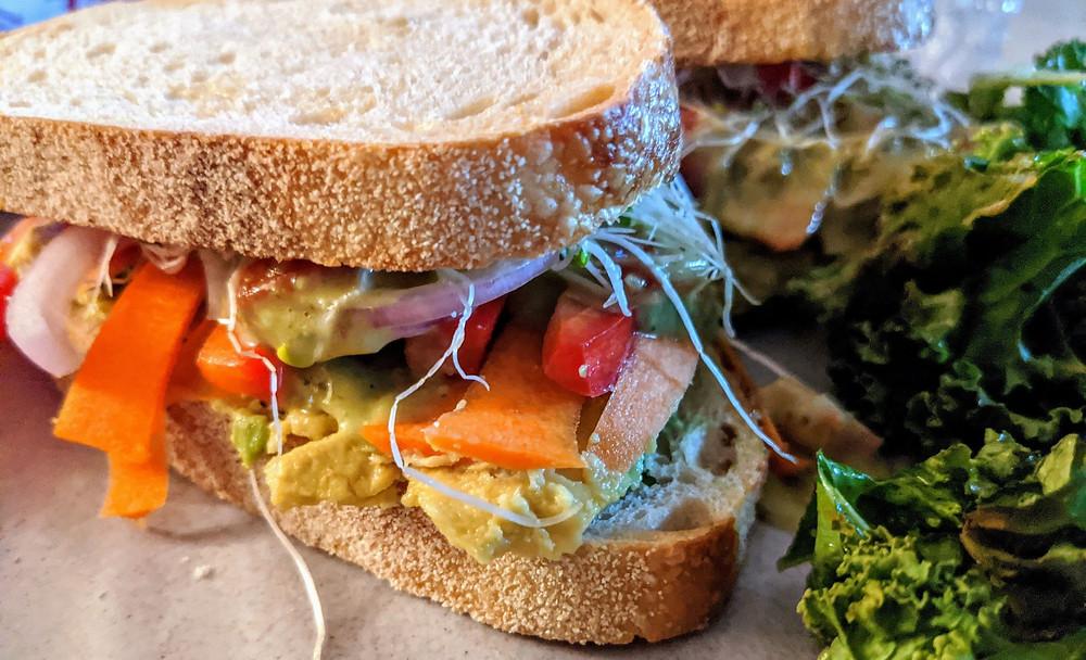 Rainbow Veggie Sandwich with Jalapeno Hummus Dressing