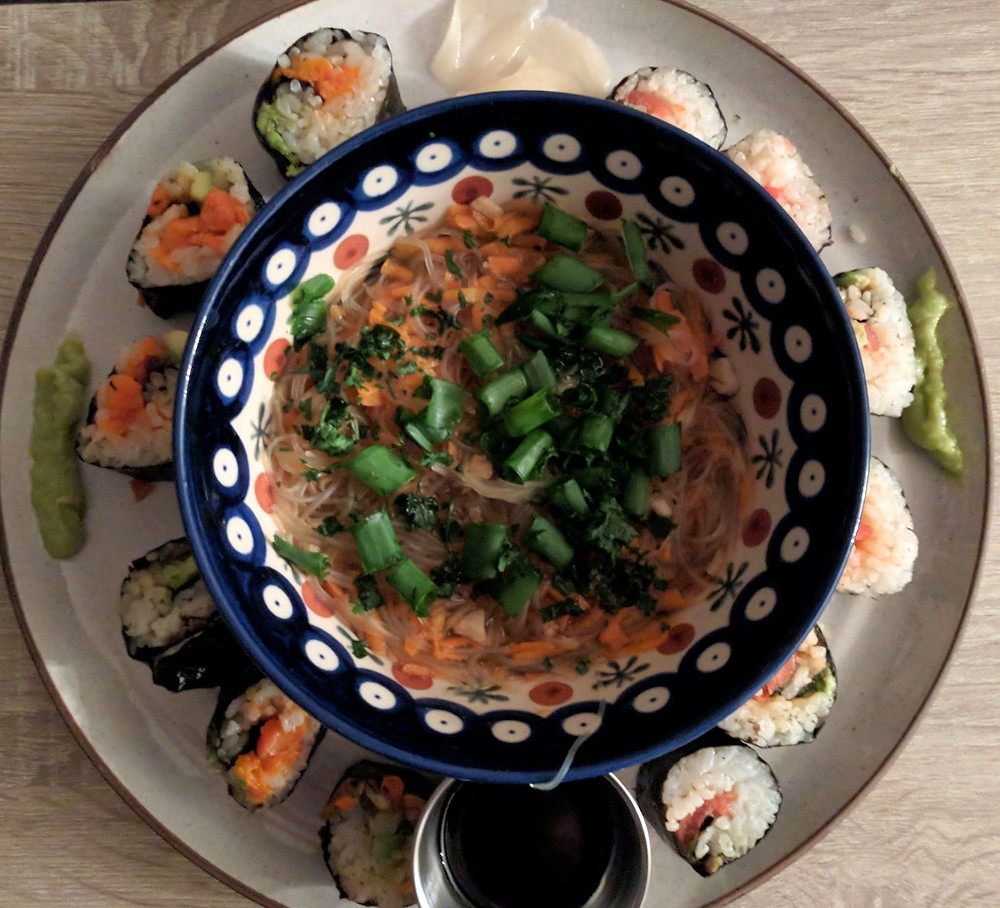 green tea soup and vegan lox sushi
