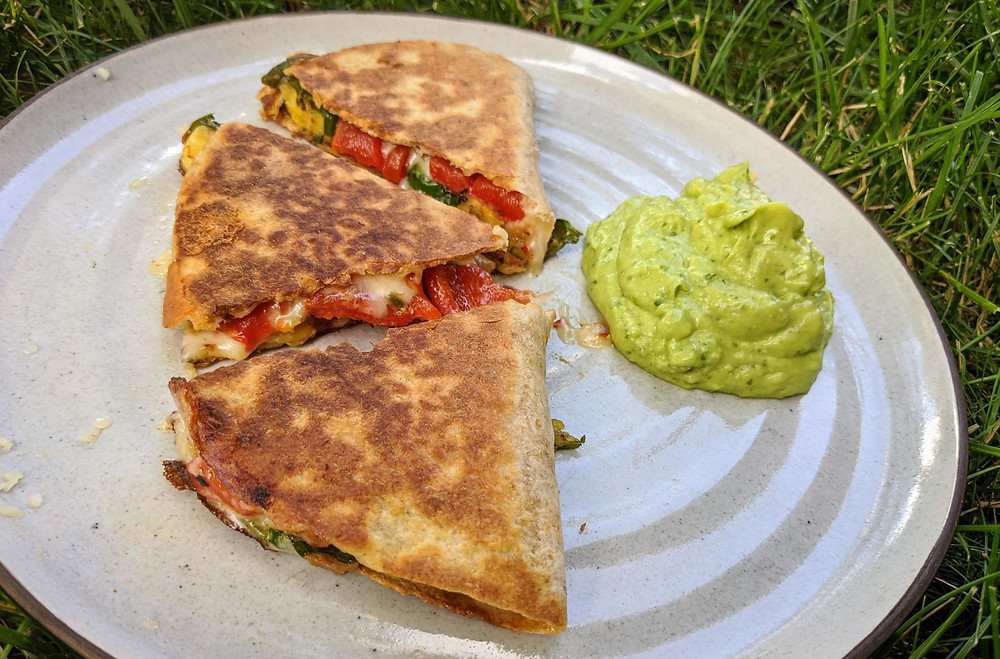 Plantain & Roasted Red Pepper Quesadillas