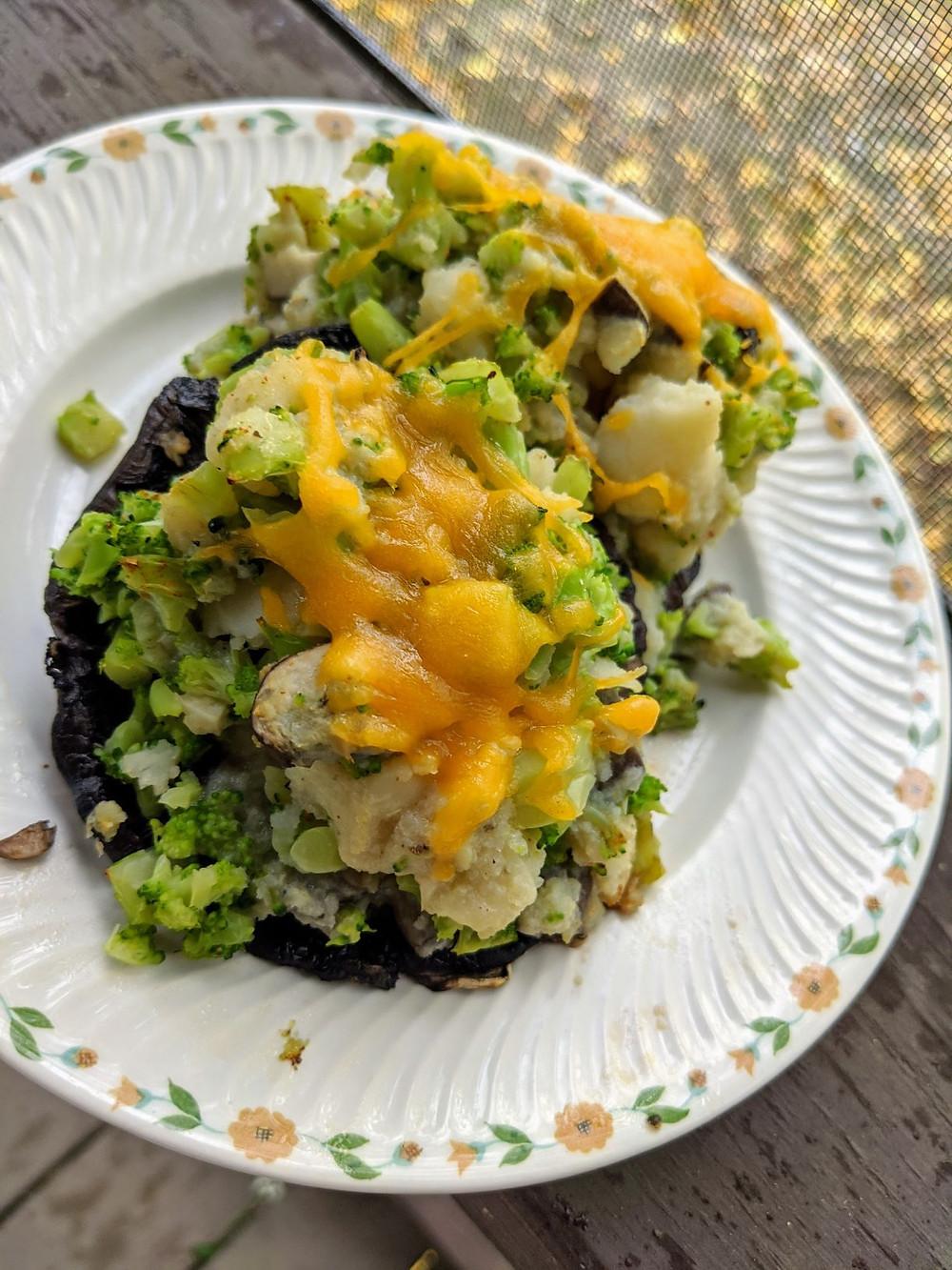 Mashed Potato and Broccoli Stuffed Portobellos