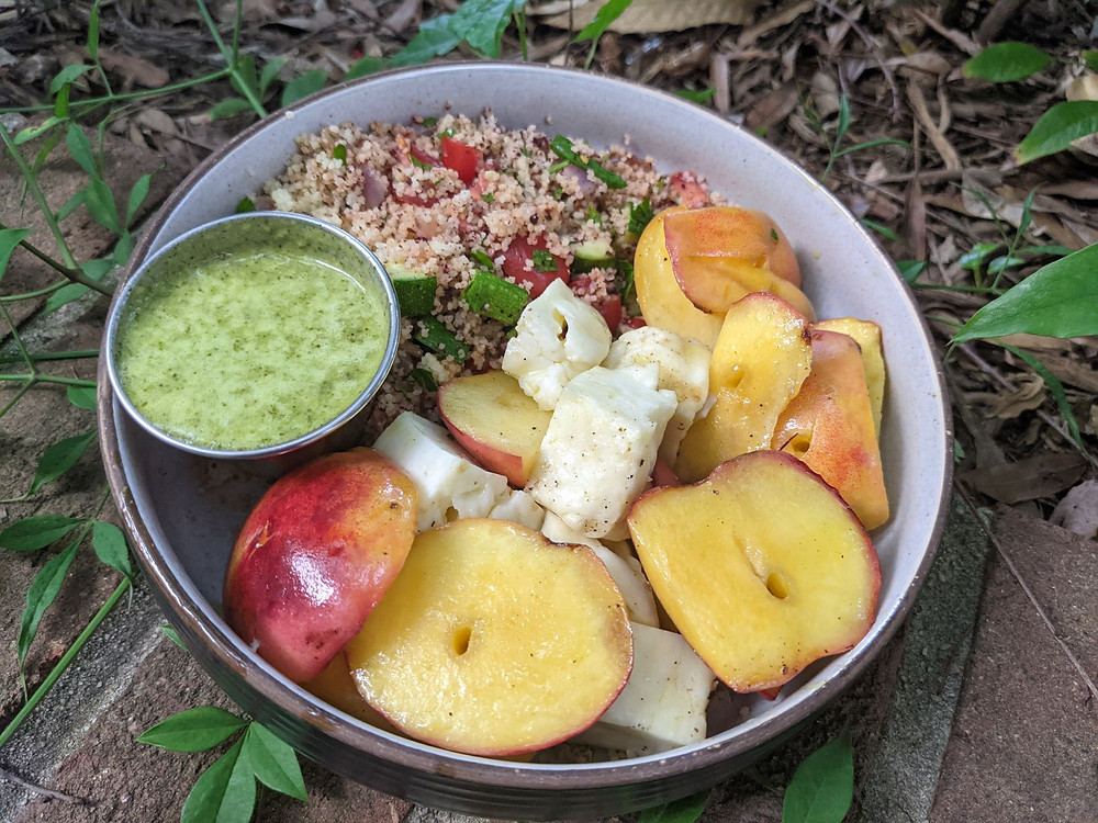 Grilled Peach and Halloumi Couscous Bowls