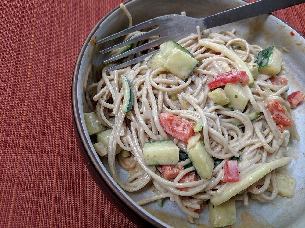 sesame ginger soba noodles
