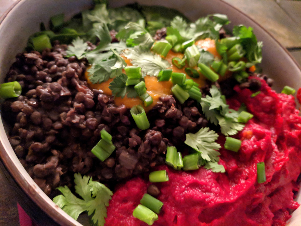 Peruvian Lentils with Beet Puree