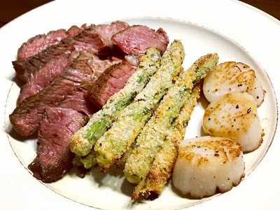 Seared Ribeye and Scallops with Asparagus Fries