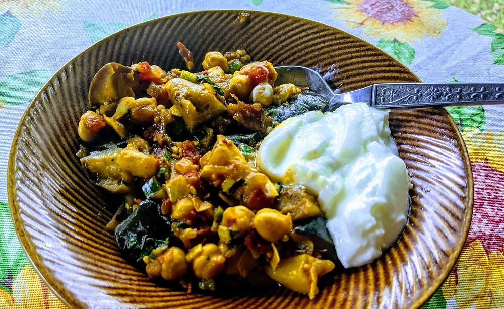 Chickpea & Eggplant Curry with Mint Chutney