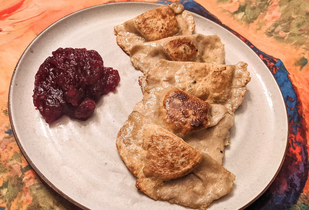 Thanksgiving Pumpkin Pirogi with Cranberry Bourbon Compote