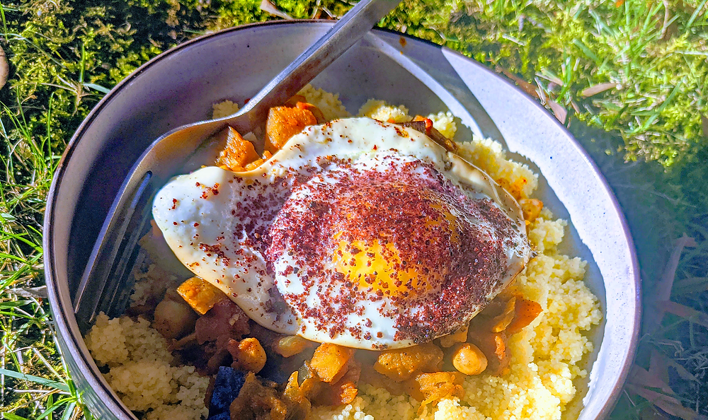 Leftover Moroccan Stew with Sumac Seasoned Egg