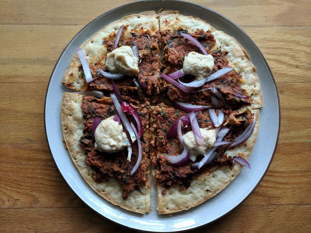 Vegetarian Lahmacun Turkish Pizza