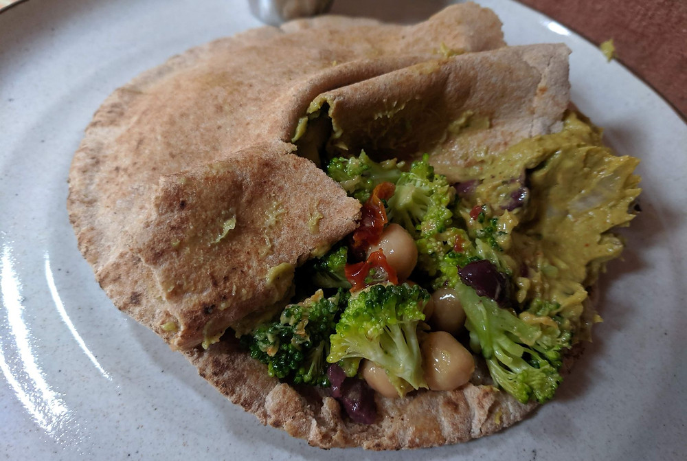 Broccoli, Chickpea & Avocado pita