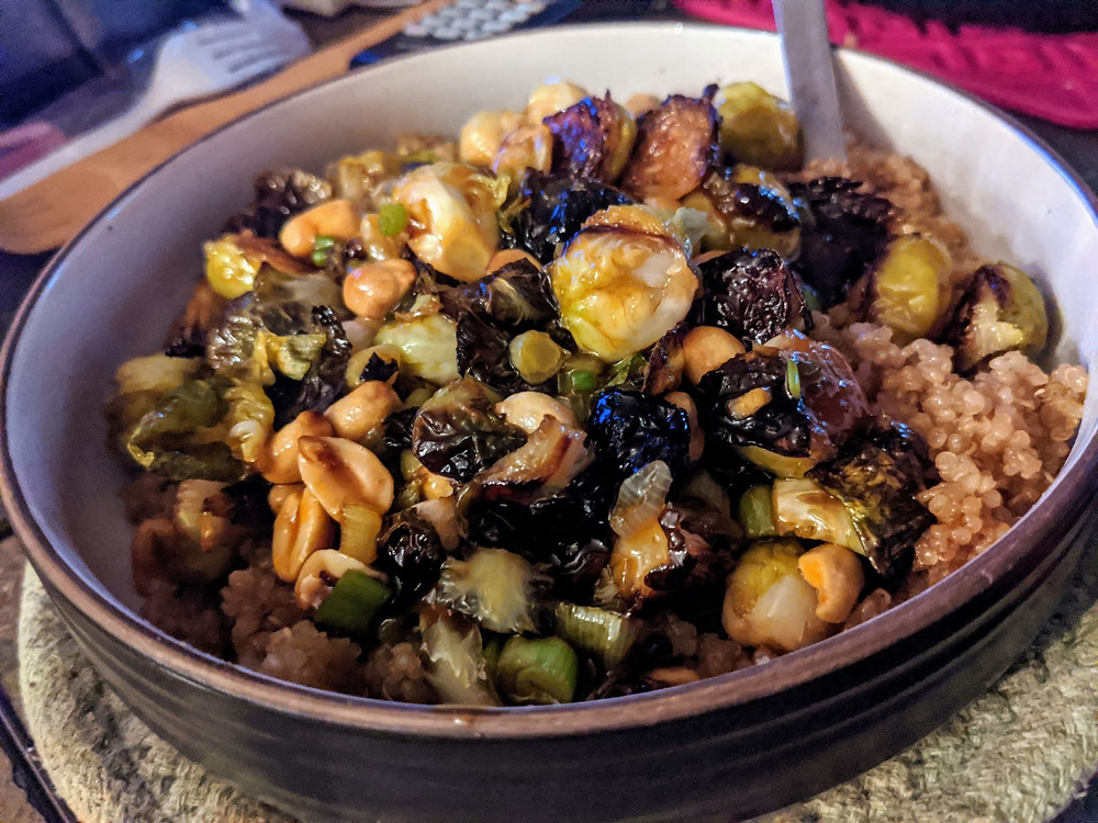 Kung Pao Brussels Sprouts with Ginger Quinoa
