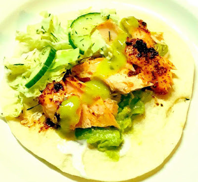 Roasted Chipotle Salmon Tacos with Cabbage Slaw