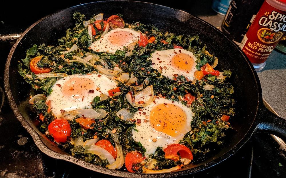 Baked Kale, Tomato & Eggs Skillet