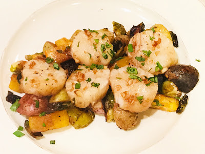 Soy-Balsamic Glazed Sea Scallops with Roasted Squash, Brussel Sprouts & Potatoes