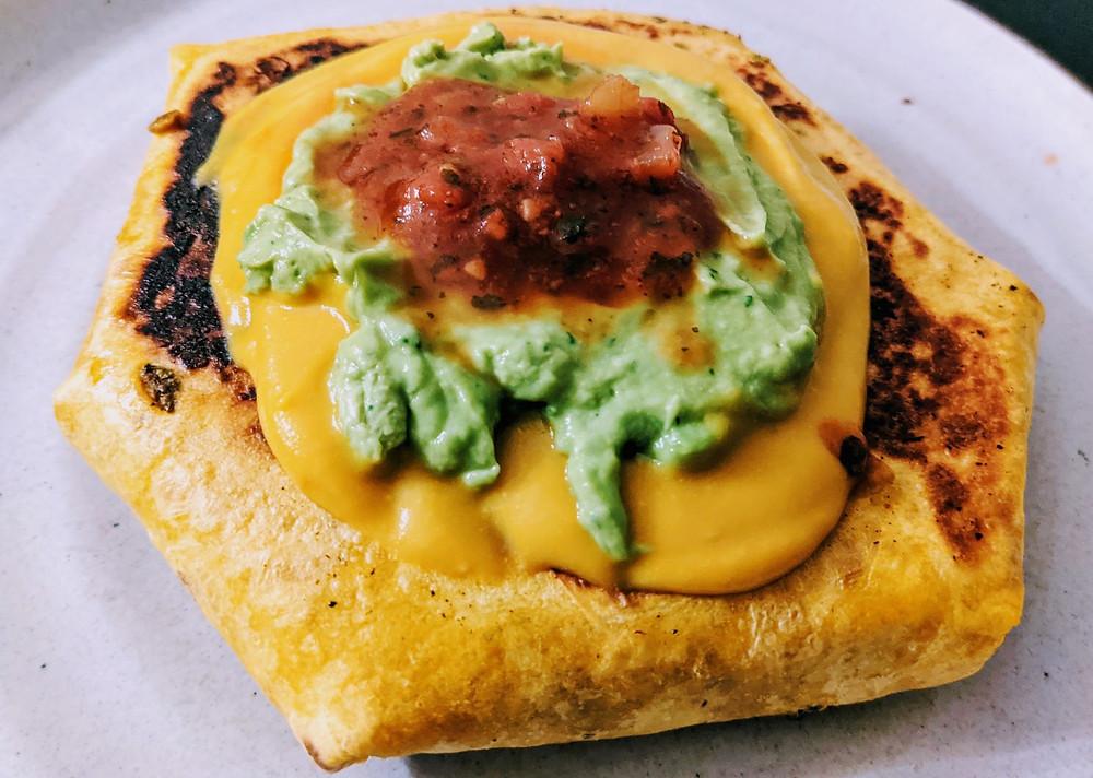 Crunch Wrap with Lentil-Mushroom Filling & Sweet Potato Nacho Sauce