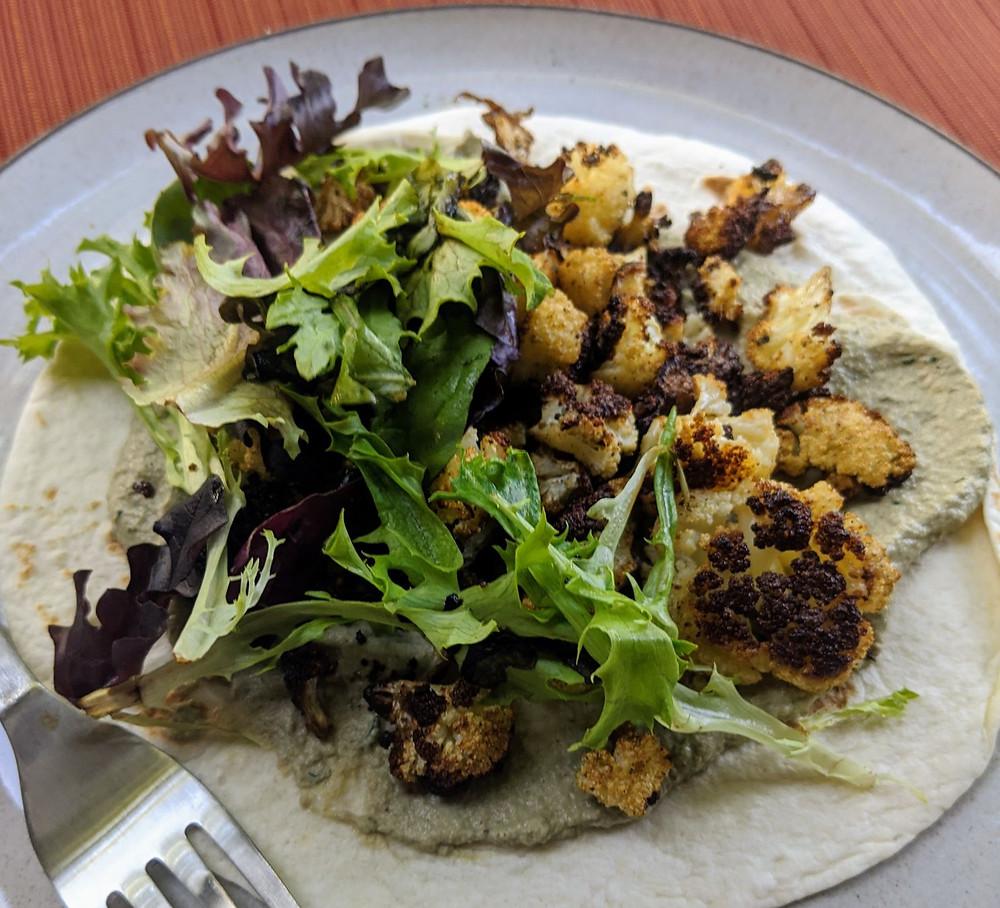 Roasted Cauliflower & Baba Ganoush Wraps
