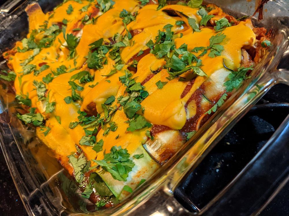 Jackfruit Zucchini Enchiladas