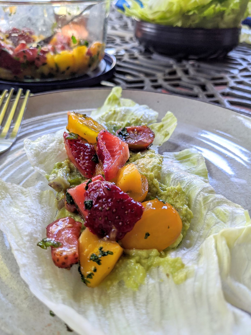 Raw Strawberry Mango Avocado Lettuce Wraps