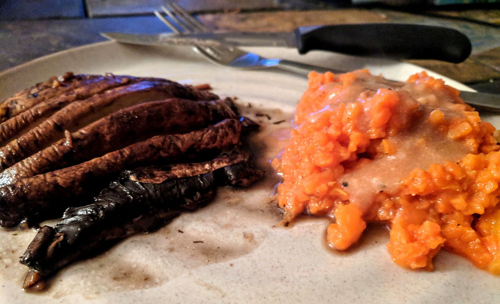 baked mushroom with mashed carrots