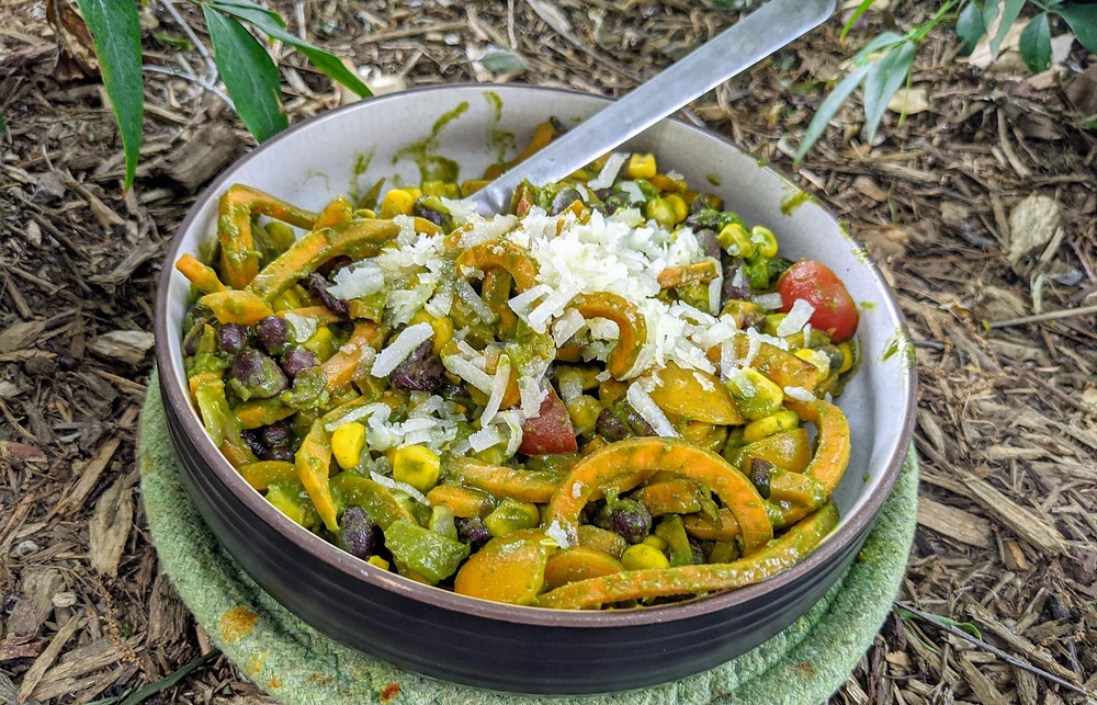 Sweet Potato Noodle Skillet with Cilantro Pesto