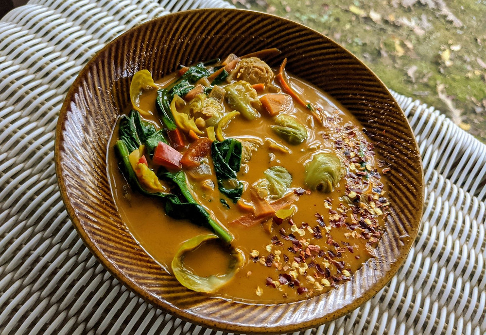 Thai Curry Brussels Sprouts Soup