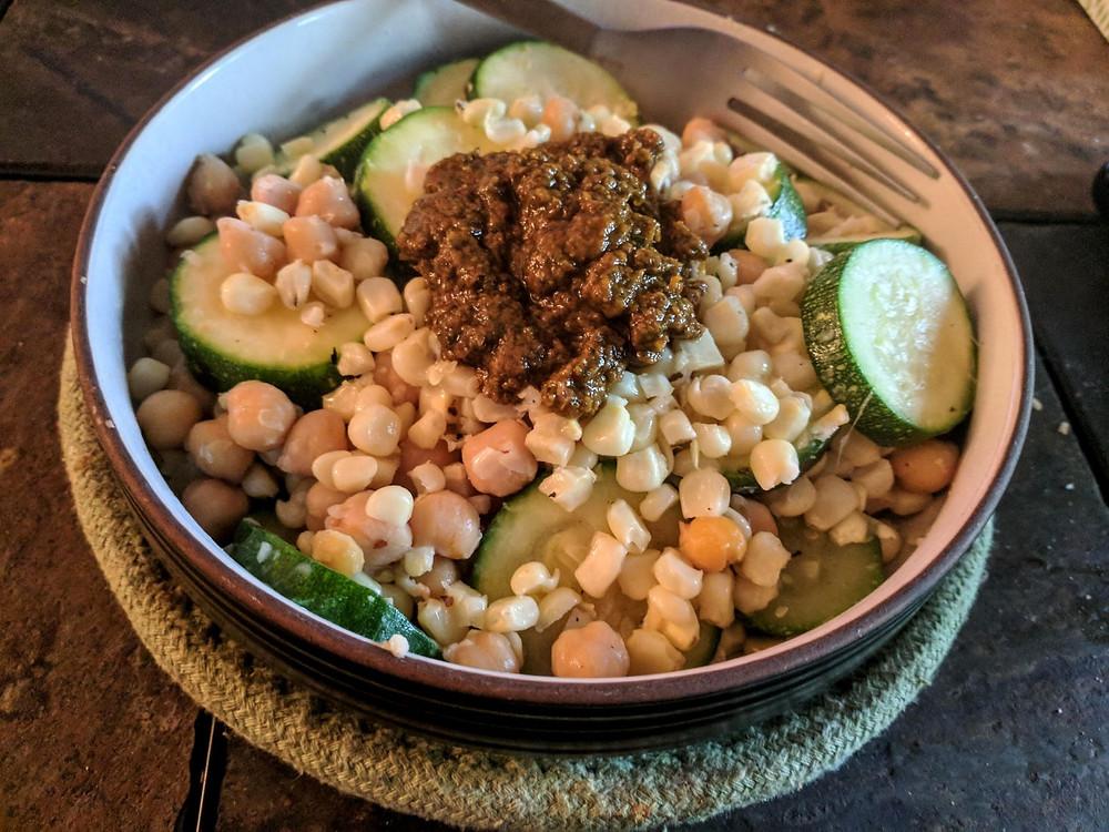 corn zucchini chickpea salad