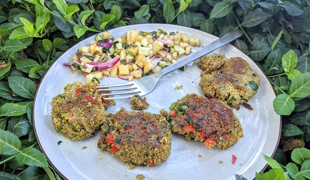 Couscous Veggie Patties with Mango, Zucchini & Sumac-Onion Salad