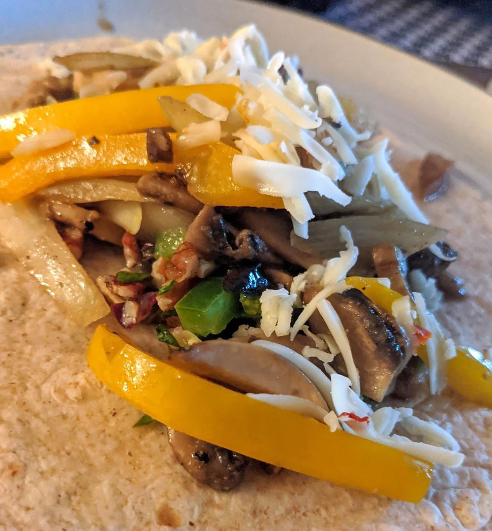 Mushroom Fajitas with Pecan Salsa