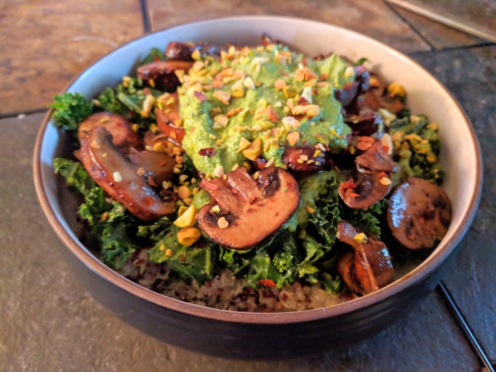 Kale Pesto Mushroom Pistachio Bowl