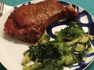 Bison Steaks with Sautéed Escarole & Zucchini